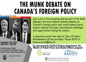 Sept. 28th: Munk Debate on Foreign Policy
